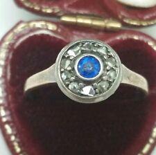 Victorian 9k Pink Gold .85ctw Genuine Sapphire & Rose Cut Diamonds Ring,1800s