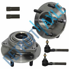 New 6 pc Kit: Front Wheel Hub & Bearing Assembly + Outer Tie Rod Links + Sleeves