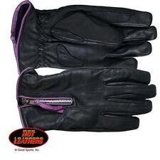 Womens Purple & Black Leather Motorcycle Gloves Biker - Hot Leathers Size XL