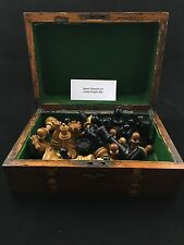1885 Staunton Chess set Lasker Knight w/ marquetry box