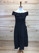 Punk Rave Dress Sz Medium/Large Black Off-Shoulder Linen Pockets Button Down B85