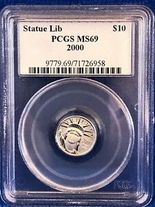 2000 Statue Of Liberty Platinum 1/10th Ounce $10 Coin PCGS MS69, Beautiful coin
