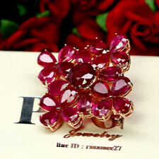NATURAL RED RUBY TWO DESING IN ONE BROOCH / PENDANT 925 STERLING SILVER