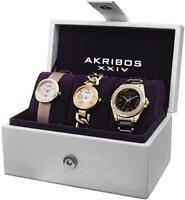 Akribos AK766YG Swiss Quartz MOP Dial Goldtone Three Piece Womens Watch Set