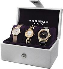 Akribos AK766YG Swiss Quartz MOP Dial Goldtone Three Piece Womens Watch Set
