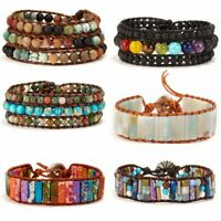 Fashion Women 7 Chakra Natural stone Wrap Bracelet Bangle Beads Handmade Gift