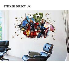 3D Crack Wall Avengers Marvel Hulk Iron Man Thor Captain Vinyl Sticker For Sale