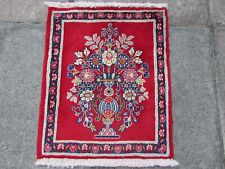 Vintage Old Traditional Hand Made Rug Oriental Wool Red Small Rug 61x50cm