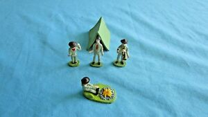 Lionel Vintage Boy Scouts Hand-Painted Figures with Tent Campfire Metal Toy 0