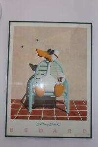 "1982 MICHAEL BEDARD ' SITTING DUCK ' - LARGE ART PRINT FRAMED 22"" x 30"" 57 x78cm"