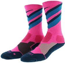 Nike Basketball Crew Socks Hyper Elite Cushioned Pink/Blue Men's 8-12 Sx4923-644