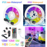 15M/10M/5M RGB LED Strip Light 3528 SMD 44 Key Remote 12V DC Power Full Kit tape