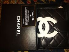 Rare  New in Box Authentic Black Chanel Cambon Leather  White CC logo  planner