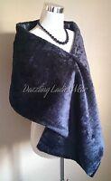 Black Soft Faux Fur Shawl Satin Lining Wrap/Stole/Bolero/Tippet/Shrug/Jacket New