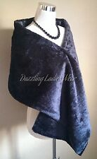 Black Soft Faux Fur Shawl Satin Lining Wrap/Stole/Bolero/Tippet/Shrug/Jacket New