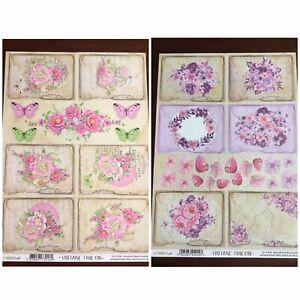 2 Lemon Craft Vintage Time 18 &15 Scrapbooking Paper Acid & Lignin Free A4 Size