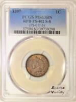 1897 Indian Head Cent PCGS MS-63BN; Repunched Date FS-402, S-8; Scarce Variety!