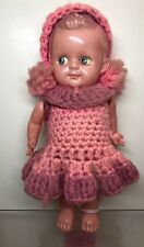 "7"" Antique Vintage German Celluloid Molded Crocheted Pink Outfit & Pink Hair #Me"
