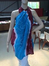 Sarong Cotton Bandhini Indian Tie Dyed Scarf Wall Hanging New Aqua White Maroon