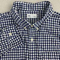 Gap Button Up Shirt Mens XL Blue White Long Sleeve Standard Fit Cotton Stretch