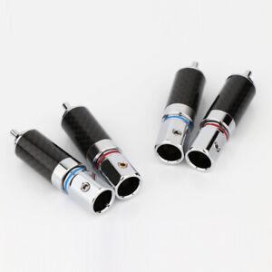 Preffair 4pcs Carbon Fiber Rhodium plated RCA Male plug connector hole 8.5MM