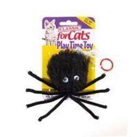 Caldex Classic For Cats Black Furry Spider Catnip Cat Toys With Elastic String