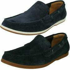 Mens Clarks Rounded Toe Casual Slip On Suede Loafers Morven Sun