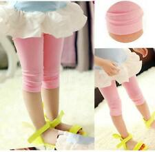 Baby Kids Girls Bright Slim Skinny Leggings Shorts Pants Tight Blue Pink Red
