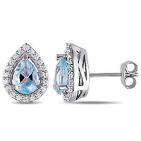 Sterling Silver Blue Topaz and Created White Sapphires Stud Earrings