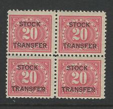Bigjake: RD6, 20 cent Stock Transfer  Block of 4