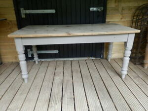 Pine table, dining, very strong, Farrow and Ball mouse's back, scrubbed top