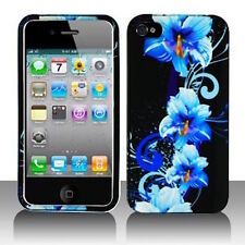 Blue Flower HARD Protector Case Snap On Phone Cover Apple iPhone 4 4S