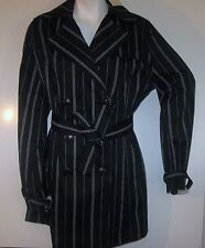 NWT VERTIGO PARIS women belted sexy belt striped trench DRESS JACKET COAT MEd M