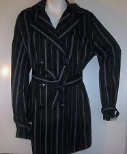 NWT VERTIGO PARIS women belted sexy belt striped trench DRESS JACKET COAT MEd M