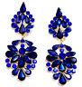 Chandelier Earrings Rhinestone Bridal Prom Pageant Crystal 2.9 inch Blue Drag