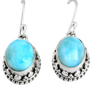 Handmade 8.44cts Natural Blue Larimar 925 Silver Earrings Jewelry R60163