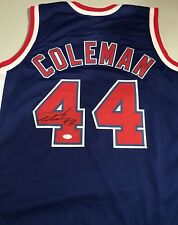 "Derrick Coleman  ""44"" Sewn Stitched L Autographed Custom Blue Jersey JSA Witness"