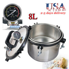 110V 8L Pressure Steam Autoclave Sterilizer Stainless Dental Lab Equipment FDA