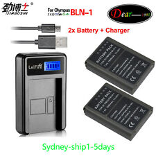 USB LCD Charger +2x Battery for Olympus BLN-1 BCN-1 BLN1 BCN1OMD Camera AU-ship