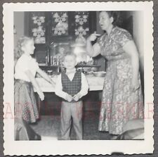 Unusual Vintage Photo Candid View of Woman & Cute Boy & Girl 724551