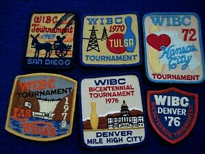 Vintage Group (6) WIBC Bowling Tournament Embroidered Sew-On Patches 1969-1976
