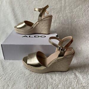 Aldo Size 8 Gold Wedge Espadrille Heel Sandal Shoe Ladies RRP£75