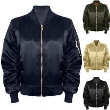 Womens Stylish Ma1 Vintage Satin Lined Padded Bomber Biker Shiny Coat Jacket