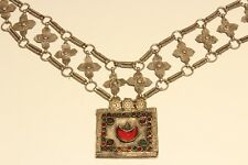 RARE POST MEDIEVAL UNIQUE HAND MADE LOW SAMPLE SILVER NECKLACE WITH CROSSES