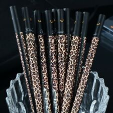 Leopard-printed Black Ink Writing Pen Student School Office Supply Gesche II33