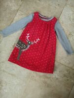 Very Good Condition Boden Reindeer Applique Dress & Top Set Age 4-5
