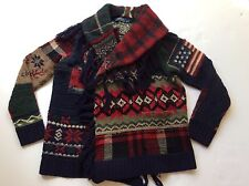 $798 Polo Ralph Lauren PATCHWORK FRINGED FLAG WOOL CARDIGAN SWEATER- WOMEN- L