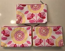CLINIQUE PINK YELLOW FLORAL PRINT COSMETIC POUCH MAKEUP BAG TRAVEL CASE X LOT 3