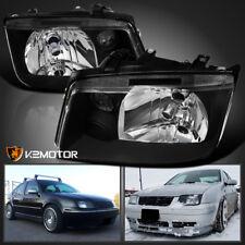 [W/O Built-in Fog] Fits 1999-2005 VW Jetta Bora MK4 Black Headlights Pair 99-05