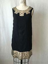Castle Starr Black 100% Silk Sleeveless Stunning Dress with Sequence Accent. Sz4